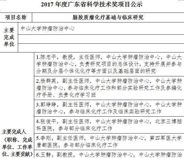 2017年度广东省科学技术奖项目公示